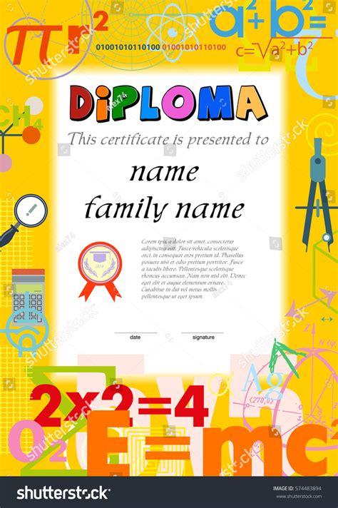 diploma template kids certificate background scientific