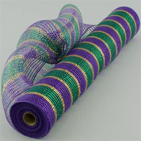 deco mesh 21 quot poly deco mesh metallic purple green gold stripes 10 yards xb960 11 craftoutlet