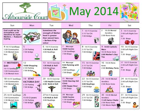 activity calendar template for seniors free printable calendar for elderly search results