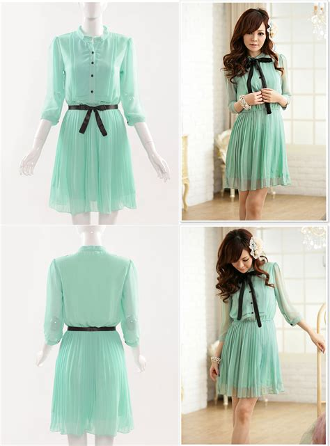 Dress Style Koreanstyle Diskon new korean chiffon summer new fashion sleeve solid color dress c ebay