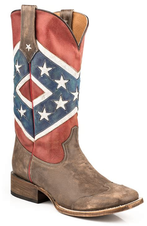 mens confederate flag cowboy boots roper mens americana brown collection rebel flag square