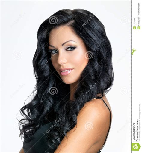 dark haired women woman with beauty long black hair stock photos image