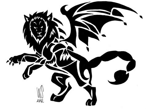 tribal manticore commision by wolfsouled on deviantart
