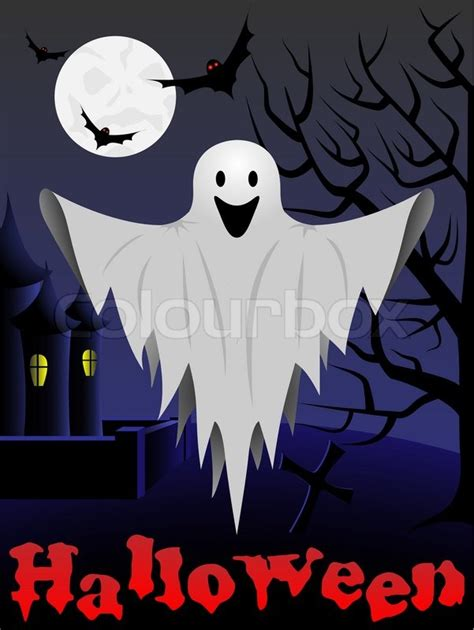 halloween card with flying ghost and castle and tree in