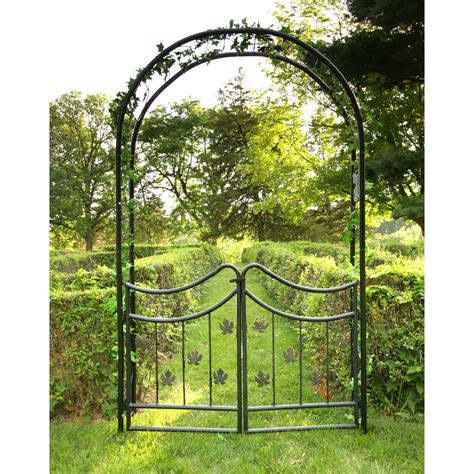 Garden Arbor With Gate For Sale Tierra Derco Bacchus 7 75 Ft Iron Arch Arbor With Gate