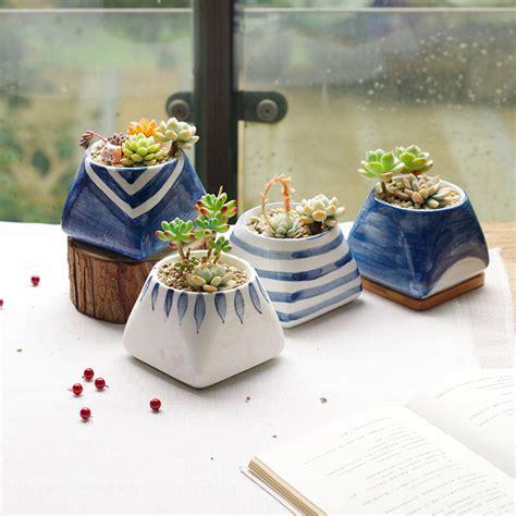 decoration ceramic planters patio plants trough planters self 4pcs set modern decorative ceramic succulent plant pot