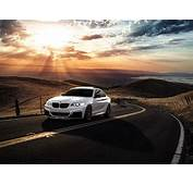 Wallpaper BMW M235i White Car Sunset Clouds Road