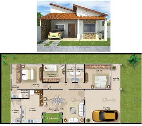 plantas de casas plantas de casas 3 quartos 37 inspira 231 245 es e projetos