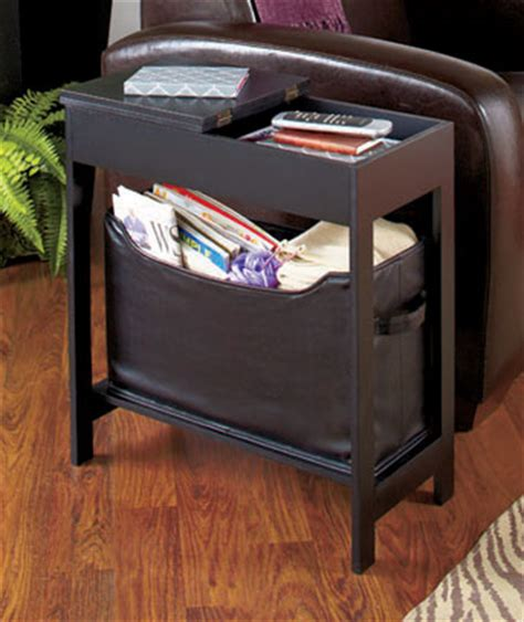 accent table storage black side storage table with bin great end table or