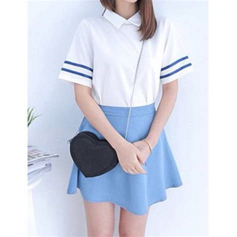 Baby Blue Blouse Girly blouse sailor light blue baby blue japanese collared shirts wheretoget