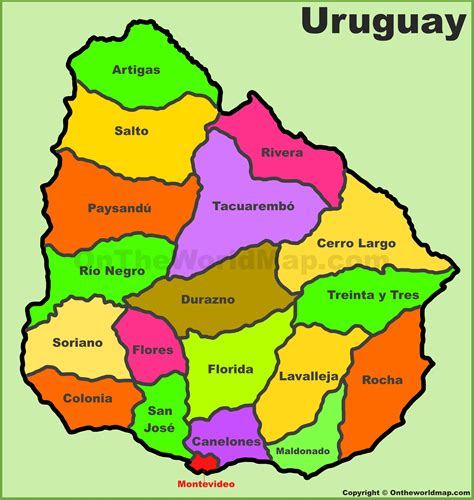 map of uruguay administrative divisions map of uruguay