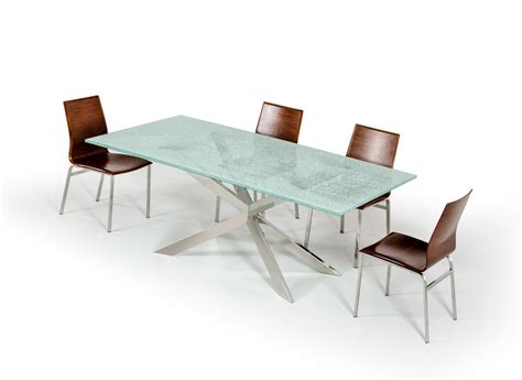 Cracked Glass Table by Xavier Modern Cracked Glass Rectangular Dining Table
