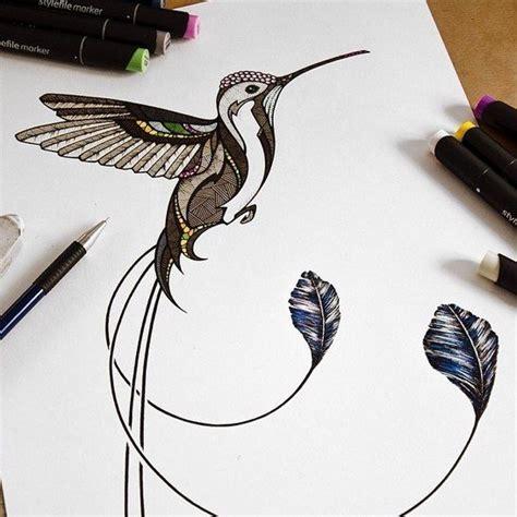 geometric hummingbird tattoo brown geometric patterned hummingbird tattoo design