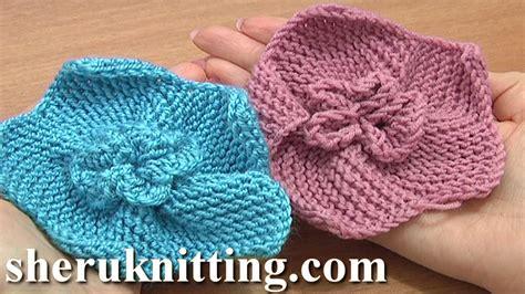 knitted flower pattern youtube garter stitch 5 petal flower knitting tutorial 2 how to