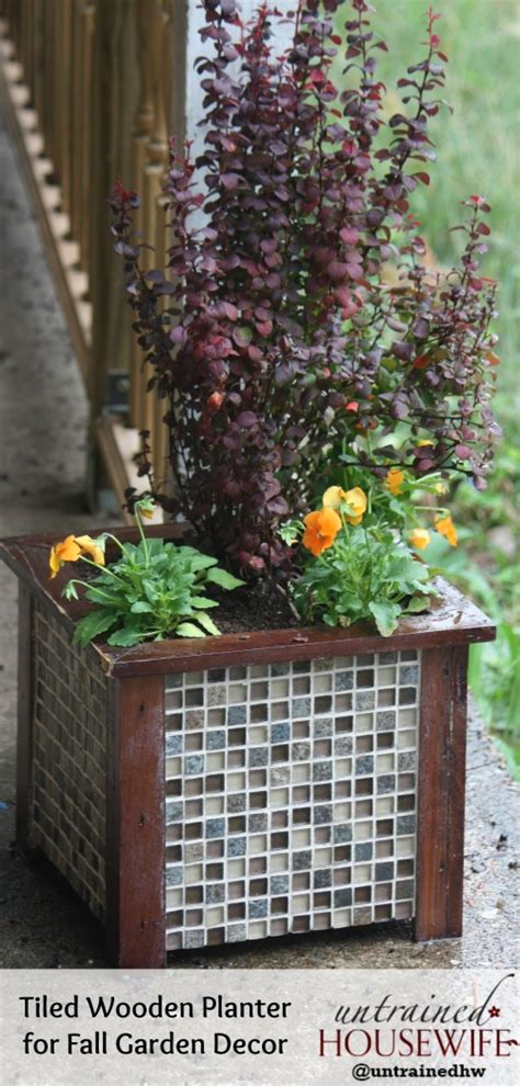 diy garden planters gorgeous tiled wooden planter diy for garden decor lowescreator