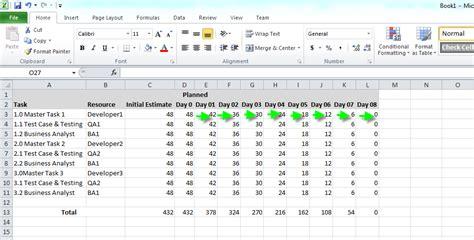 scrum burndown chart excel template zack tutorials scrum burn chart using microsoft