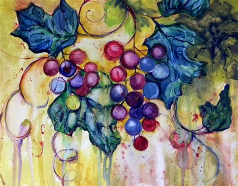 acrylic painting grapes water color grapes painting by peggy wilson