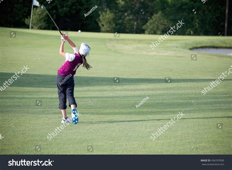 perfect iron golf swing perfect golf swing by 9 years stock photo 434747950