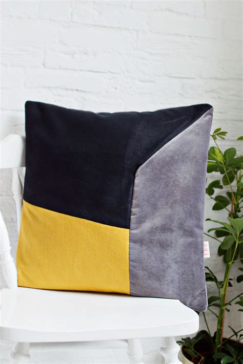Handmade Cushion Covers - handmade cushion cover mustard grey black shop