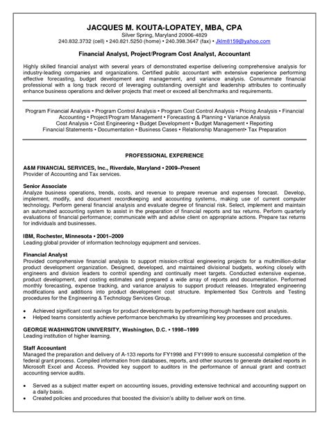 Career Objective Financial Analyst by Resume Financial Analyst Resume Sle Senior Financial Analyst Template Entry Level