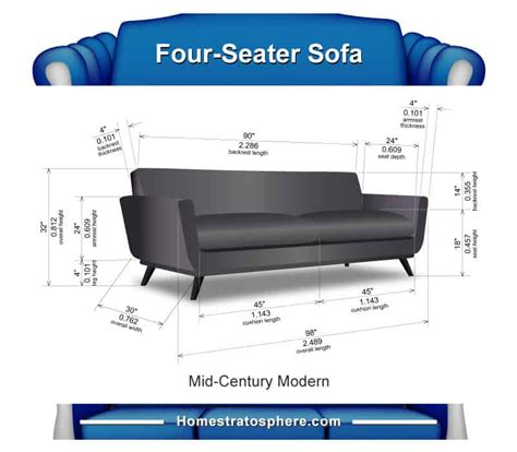 Size Of Sofa by Sofa Dimensions For 2 3 4 And 5 Charts