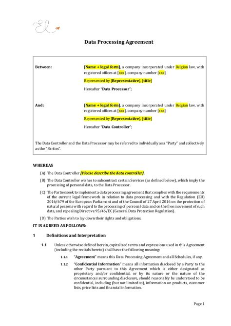 Data Processing Agreement Gdpr Contract Template