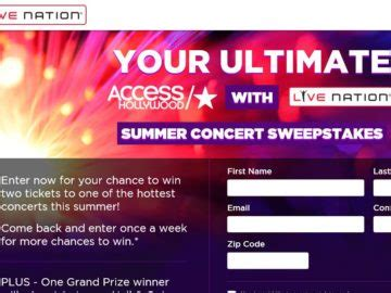 Summer Concert Sweepstakes - the your ultimate all access hollywood live nation summer concert 2016 sweepstakes