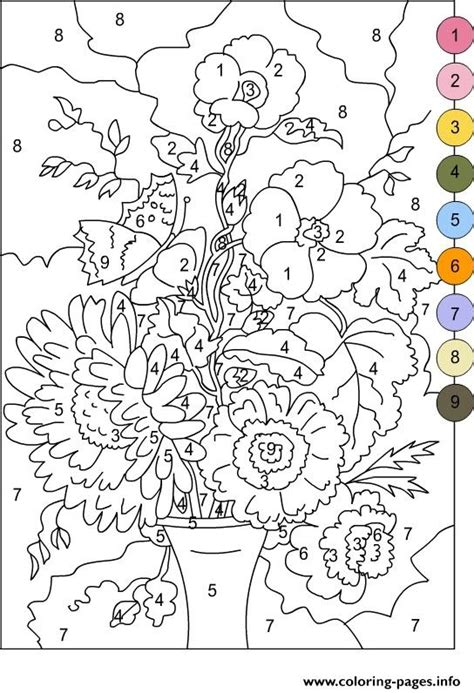 pages by number color by number for adults flowers coloring pages printable