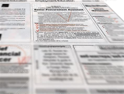 employment section of newspaper newspaper headlines advertising jobs stock photo