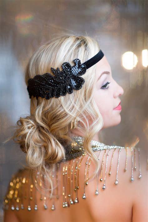 beaded flapper headpiece items similar to gatsby headband black beaded headband