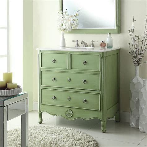 Retro Bathroom Vanities by Adelina 34 Inch Vintage Bathroom Vanity Vintage Mint Green