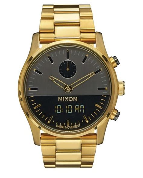 Nixon Digital Stainless Black Gold nixon duo analog digital bracelet in gold for