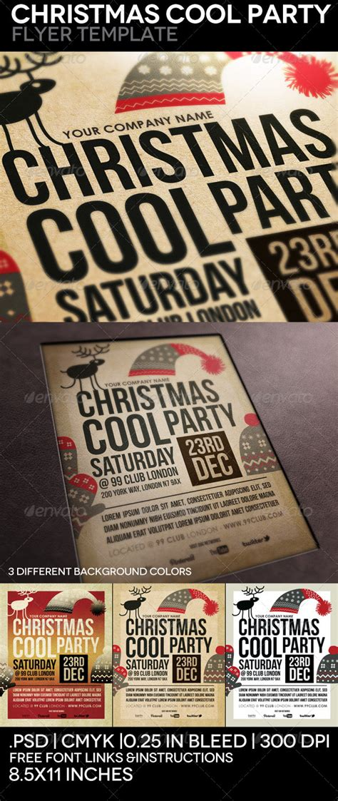 Christmas Cool Party Flyer Template By Blackinkbcn Graphicriver Cool Flyer Design Templates