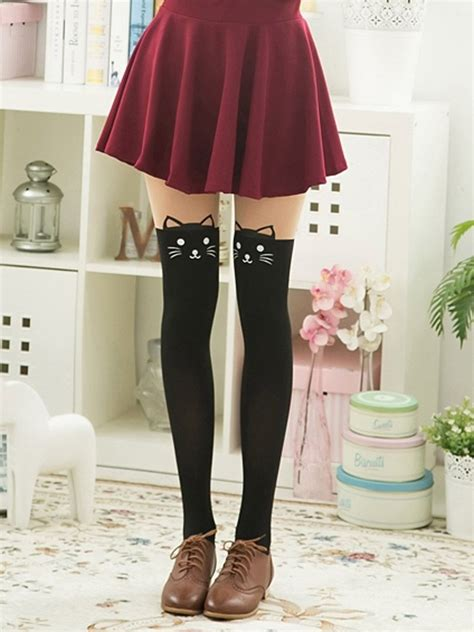color block cute cat suspender tights choies cute tights