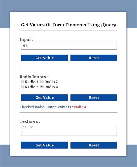 using jquery themes in html jquery get value of input textarea and radio button formget