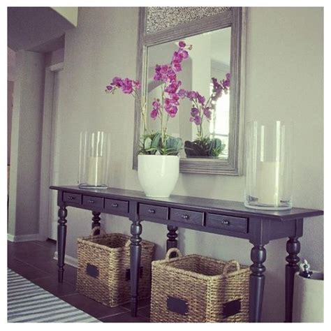 Entryway Table With Baskets Baskets Foyer Table Table Cut In Half For Foyer Furniture Pinterest Foyer Tables
