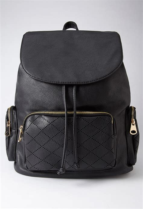 Faux Leather Backpack lyst forever 21 perforated faux leather backpack in black