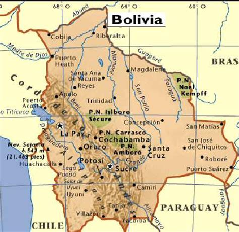 map of bolivia mountains in bolivia map