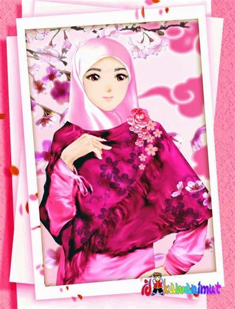 wallpaper pink kartun gambar kartun wanita muslimah berjilbab cantik dan anggun