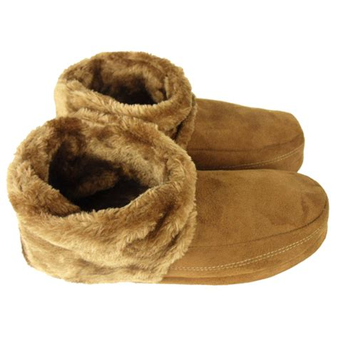warm slippers mens dunlop ankle boot slipper bootee faux suede