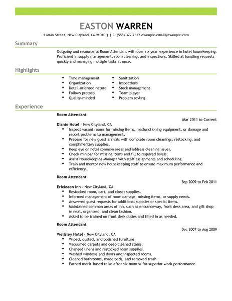 Hotel Resume by Best Room Attendant Resume Exle Livecareer