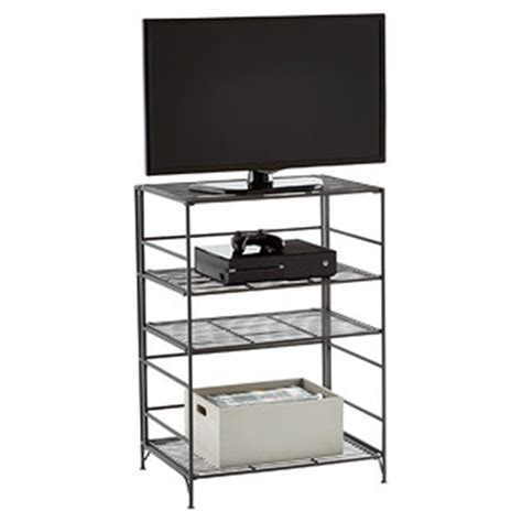 container store folding bookcase 4 shelf iron folding media center the container store