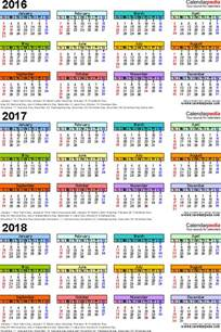 Jamaica Kalender 2018 2016 2017 2018 Calendar 4 Three Year Printable Pdf Calendars