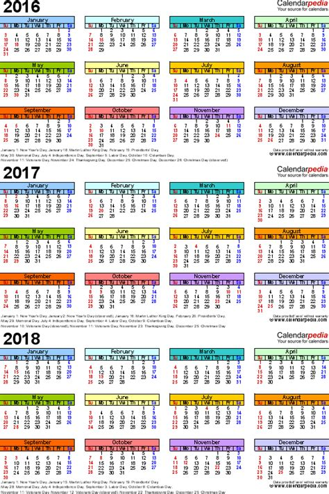 Calendã Escolar 2017 18 Pdf 2016 2017 2018 Calendar 4 Three Year Printable Pdf Calendars