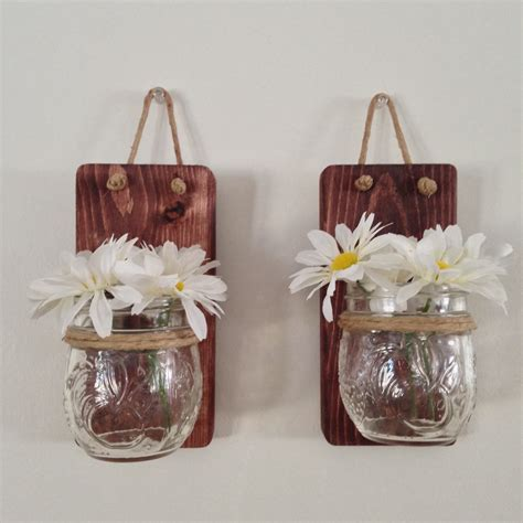 Jelly Jar Wall Sconce Set Of Two Small Rustic Jar Wall Sconce With 8oz Jelly Jam Jars