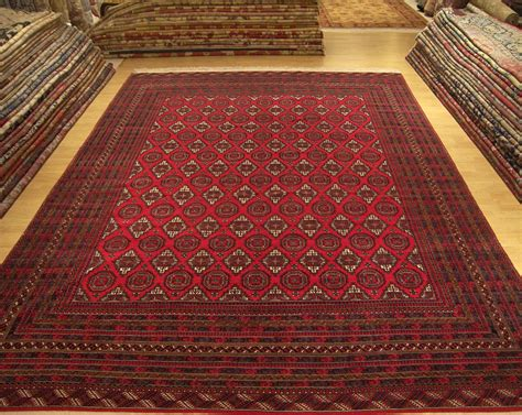 carpet rugs 10 x 13 handmade knots afghanturkoman bukhara wool rug excellent condition ebay