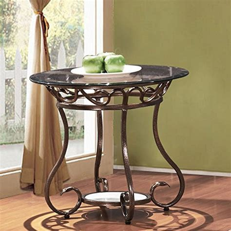 small glass side table adeco glass top bronze metal base end side table