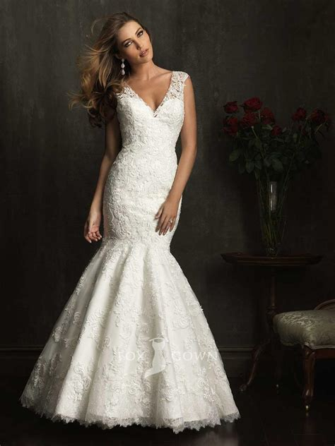 lace mermaid wedding dress mermaid v neckline wedding dress with lace sleevescherry