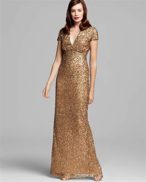 dress cap sleeve beaded sequin gown miller v neck sequin gown cap sleeve in metallic lyst