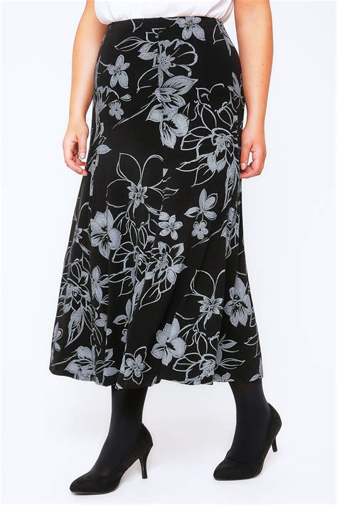 grey black floral print jersey maxi skirt with panel